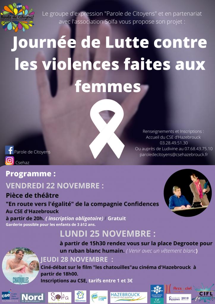 Dans le cadre de la Journée de Lutte contre les violences faites aux femmes